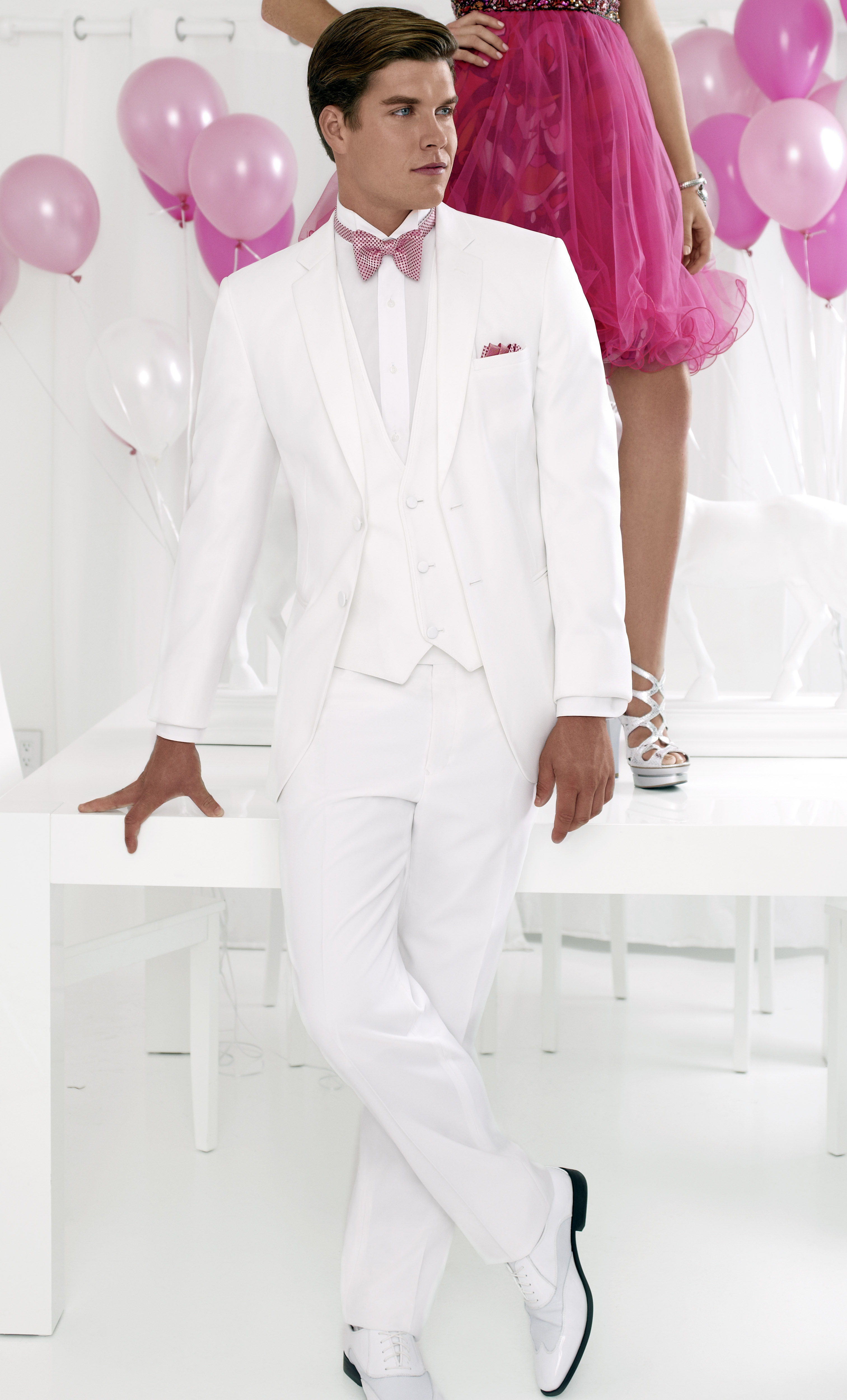 White Fitted Two Button Tuxedo : Formal Dimensions