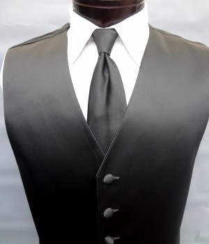 Charcoal Grey Satin Vest by Lord West