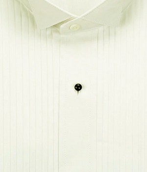 Ivory Pleated Wing Collar Tuxedo Shirt