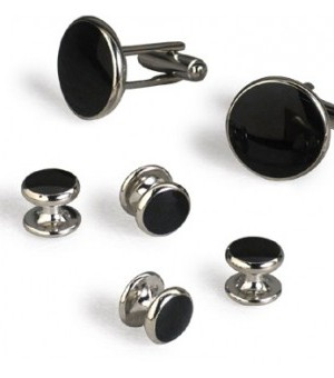 Classic Silver & Black Cufflink and Stud Set