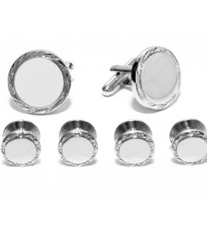 Engraveable Silver Cufflink and Stud Set