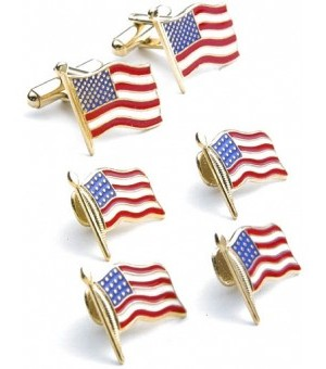 Gold American Flags Cufflink and Stud Set