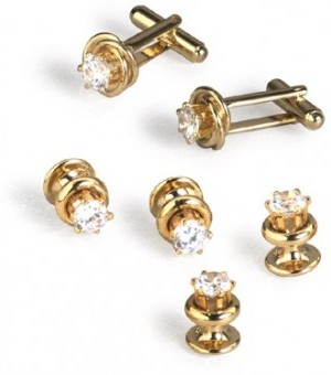 Gold with CZ Diamond Cufflink and Stud Set