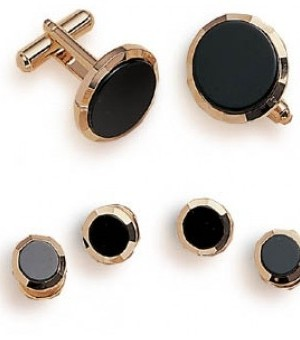 Gold and Onyx Cufflink and Studs with Bevel Front