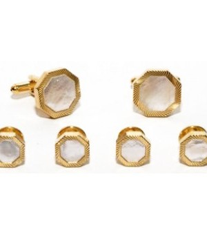 Gold and Pearl Cufflink and Stud Set with Bevel Design
