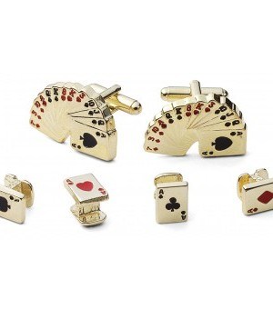 "Gold ""Deck of Cards"" Cufflink and Stud Set"