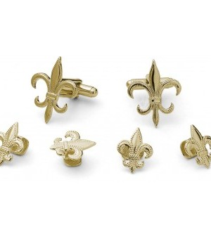 Gold Flor de Lis Cufflink and Stud Set