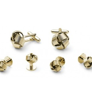 Gold Knots Cufflink and Stud Set