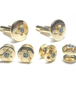 Gold Masonic Cufflink and Stud Set