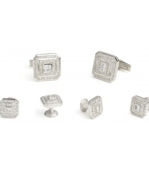 Silver and CZ Jewel Cufflink and Stud Set