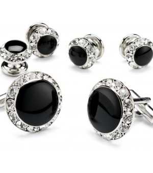 Silver and Black Cufflink and Stud Set with CZ Diamond Edge