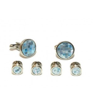 Silver and Blue Crystal Cufflink and Stud Set