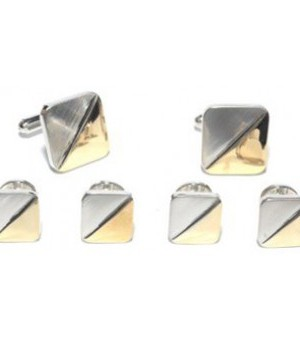 Silver and Gold Two Tone Cufflink and Stud Set