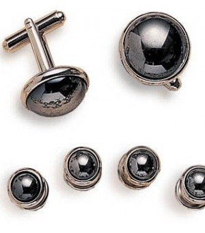 Silver and Hematite Cufflink and Stud Set