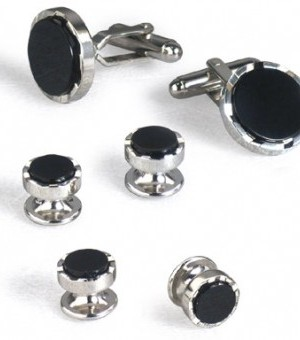 Silver and Onyx Cufflink and Stud Set with Bevel Design