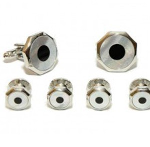 Silver and Onyx Bullseye Cufflink and Stud Set