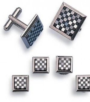 Silver and Onyx Checkerboard Cufflink and Stud Set