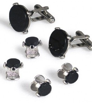 Silver and Onyx Crown Cufflink and Stud Set