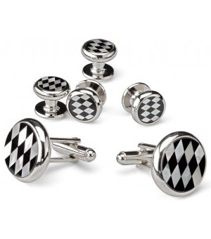 Silver and Onyx Diamond Pattern Cufflinks and Studs