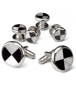 Silver and Onyx Hazard Design Cufflink and Stud Set