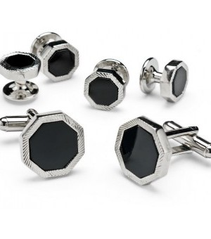 Silver and Onyx Octagon Bevel Cufflinks and Studs