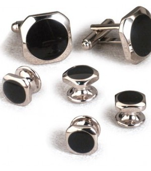 Silver and Onyx Rounded Octagon Cufflink and Stud Set