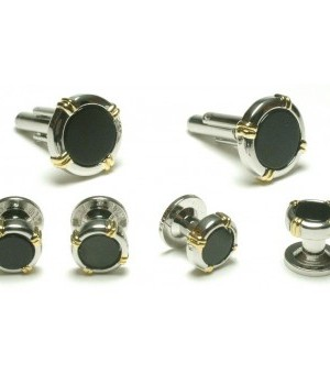Silver and Onyx Cufflinks and Studs with Gold Accents