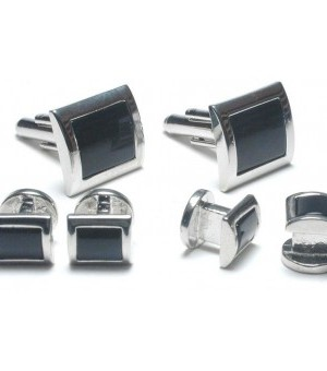 Silver and Onyx Square Cufflink and Stud Set