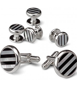 Silver and Onyx Striped Cufflink and Stud Set