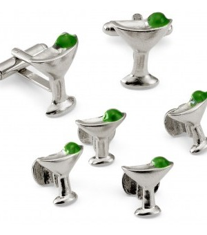 Silver Martini Glass Cufflink and Stud Set