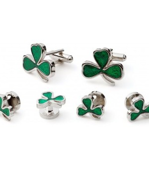 Silver Shamrock Cufflinks and Studs