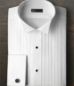 Ike Behar White Pleated Wing Collar Shirt