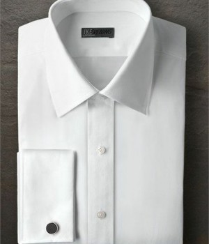 Ike Behar White Non Pleated laydown Collar Shirt