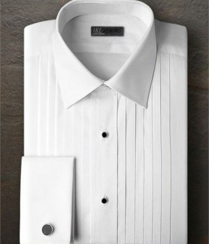 Ike Behar White Pleated Laydown Collar Shirt