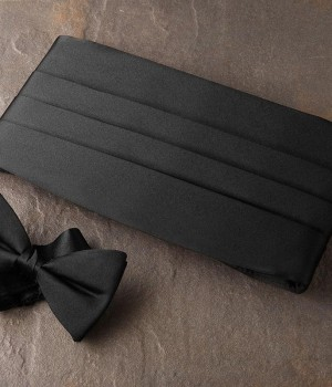 Solid Black Bow Tie & Cummerbund Set