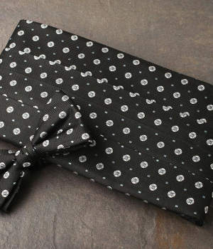 Black Circle Pattern Cummerbund & Bow Tie Set