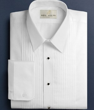 White Pleated Laydown Collar Tuxedo Shirt